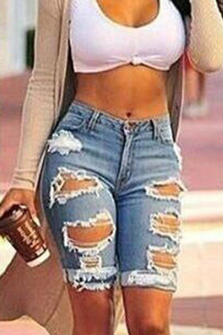 High Waist Hole Pure Color Slim Denim Long Shorts