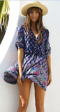 Boho Purple Floral Print Dress