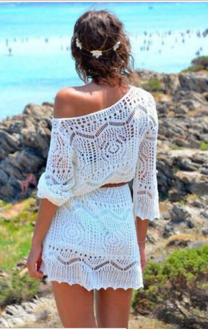 Heavenly Crochet Lace Beach Cover-Up Dress