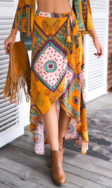 Yellow Boho Gypsy Wraped Asymmetrica Hi Lo Skirt