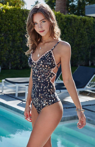 Field Of Dreams Crochet Trim One Piece Swimsuit