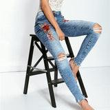 Embroidery Rose Jeans Pencil Pants