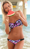 Brightly Hued Montage Strapless Bikini Sets