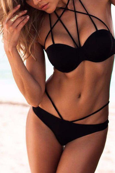 Black Strappy Halter Bikini Sets