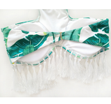 White Tassel Banana Leaf Bikini Bathing Suits