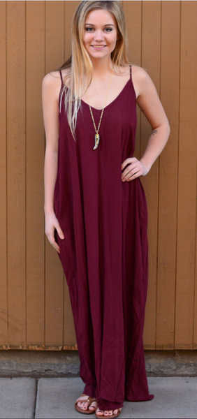 Burgundy Red Cami Loose Maxi Dress