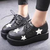 Retro Black Five Ponited Star Platform Lace Up Round Toe Flat  Shoes
