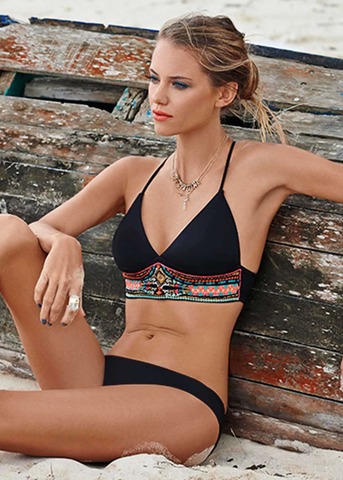 Black Boho Floral Print Bikini Suits