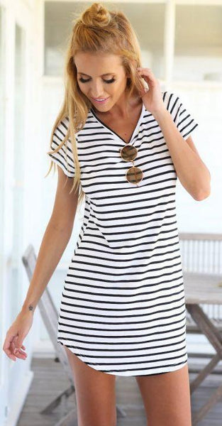 Black White Striped Shift Dress