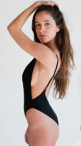 Black Backless Scoop One-Piece Swimsuits