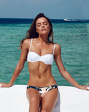 White Navy Floral Cheeky Bottom Bikini Sets