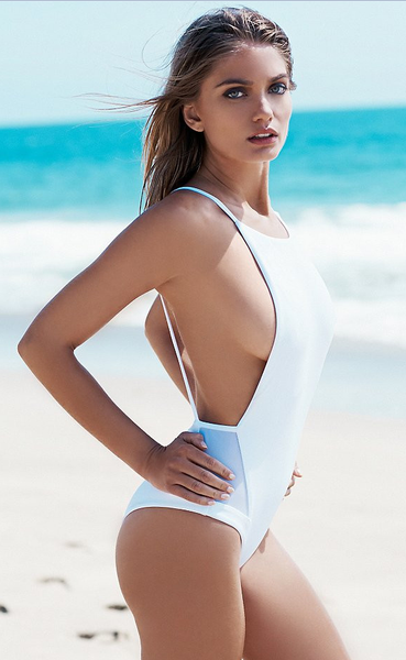 White Backless One-Piece Swimsuits
