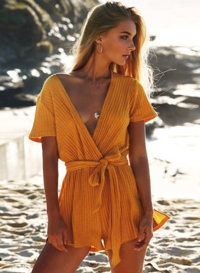 Casual Deep V Neck Bandage Short Sleeve Jumpsuits
