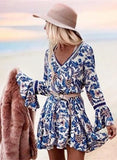 Fashion Flare Sleeve Floral Printed Mini Dress