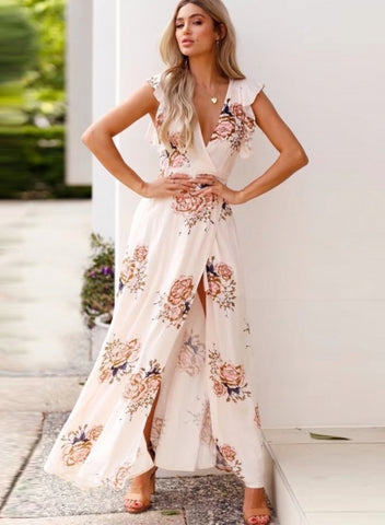 Fashion Flounced Floral Printed Sleeveless V Neck Slit Maxi Dress