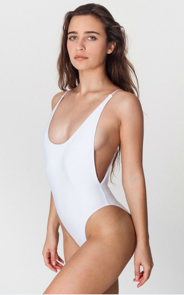 White Backless Scoop One-Piece Swimsuits