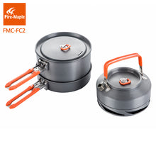 FIRE MAPLE Outdoor Camping Cookware, 2 Pots, 1 Frypan, 1 Kettle Set Foldable Handle