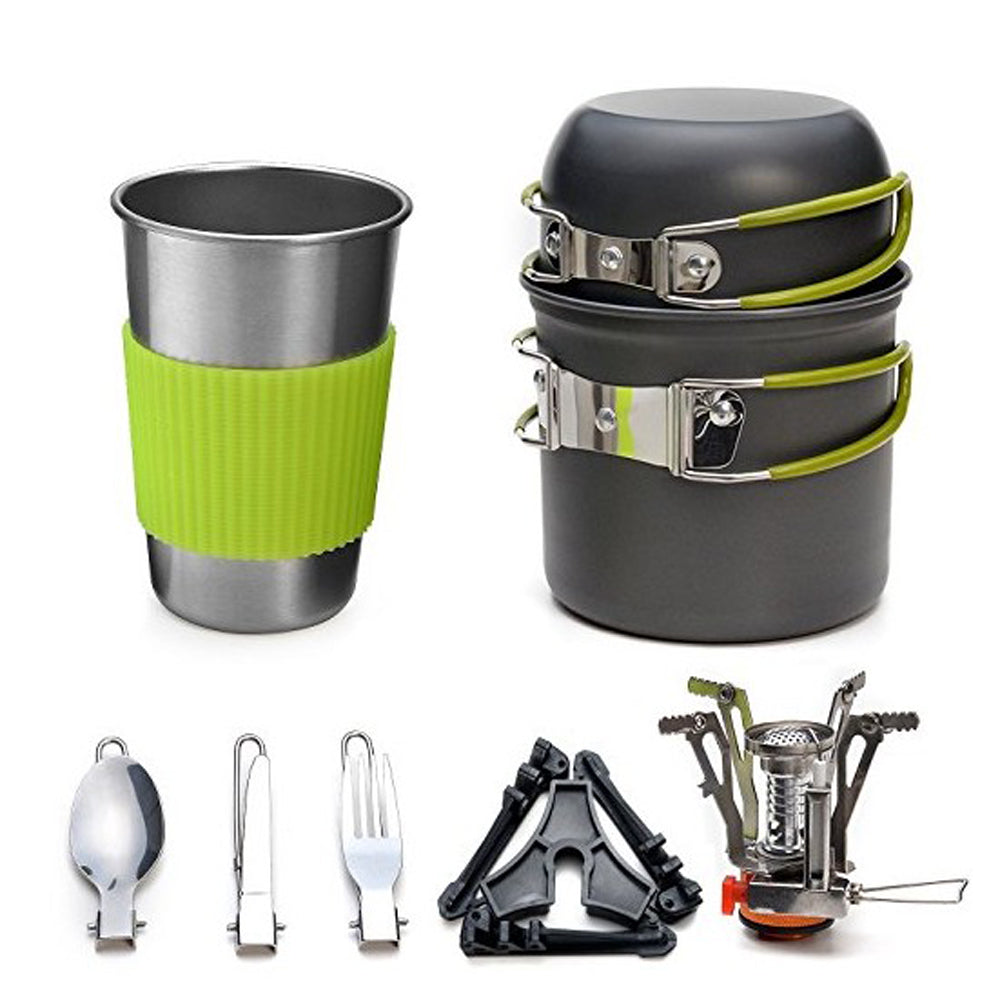 GL Outdoor Tableware for Camping, Hiking. Aluminium Alloy Cookware. Traveling Bowl, Pot, Pan Set for 1 person+stove
