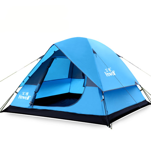 HEWOLF Durable 3-4 Person Outdoor Camping Tent. Double Layer Waterproof Travel Hiking Tent. One Bedroom