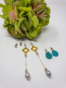 3-in-1 Aqua-Grey Pearl Earrings