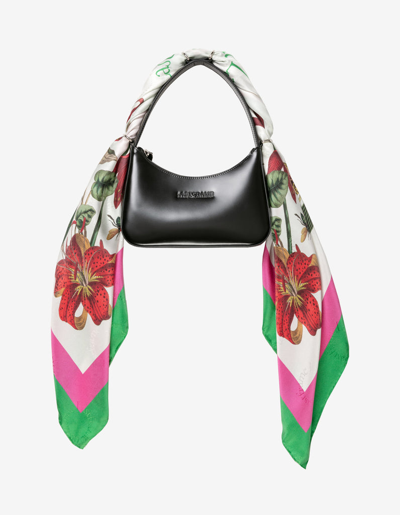 LEATHER HANDBAG + SILK SCARF