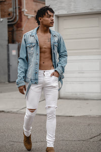 Biker Denim Jacket Destroyed - Light Blue
