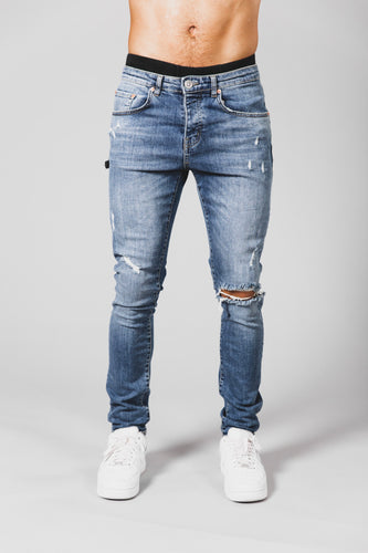 Retro Skinny Fit Jeans - Mid Blue - Destroyed
