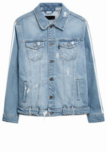 Striped Biker Denim Jacket - Light Blue - Destroyed