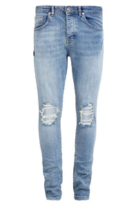 Retro Skinny Fit Jeans - Light Blue - Destroyed