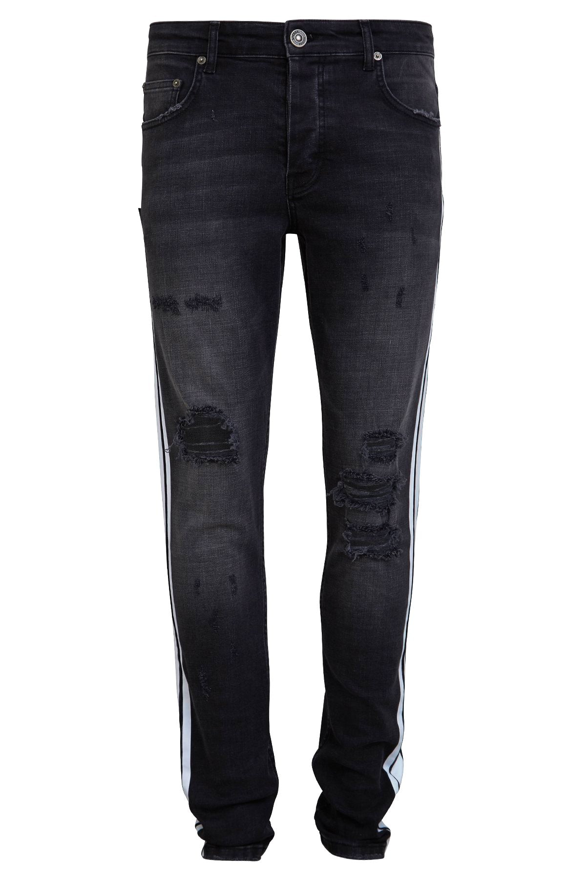 Striped Retro Skinny Jeans - Black Washed - Destroyed