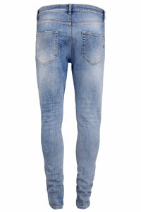 Striped Retro Skinny Jeans - Light Blue - Destroyed