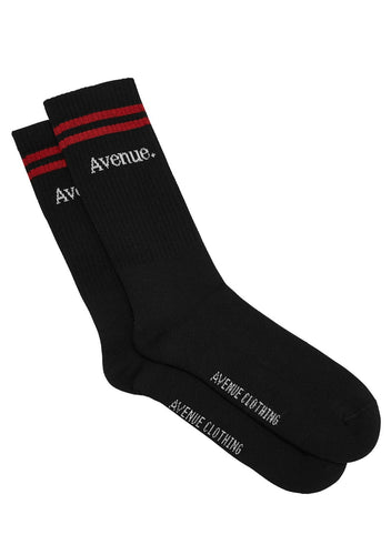 Basic Socks Black - Red Stripes - One Size