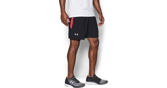 Men's UA Launch SW 15cm Shorts sort/Rød