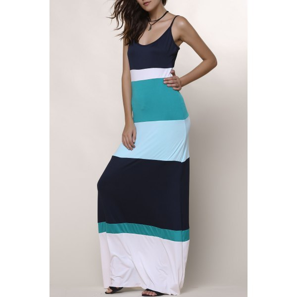 Bohemian Style Spaghetti Strap Color Block Women's Dress - Light Blue M