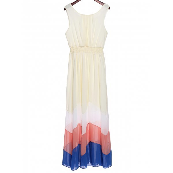 Bohemian Scoop Neck Sleeveless Zig Zag Chiffon Dress For Women - Off-white 2xl
