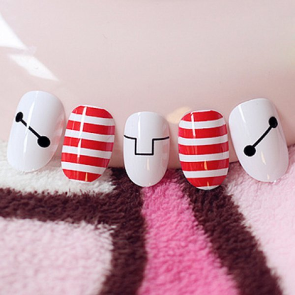 24 PCS Likable Stripe and Cartoon Geometric Pattern Nail Art False Nails - Red With White
