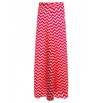Zippered Chevron Maxi Skirt - Watermelon Red L