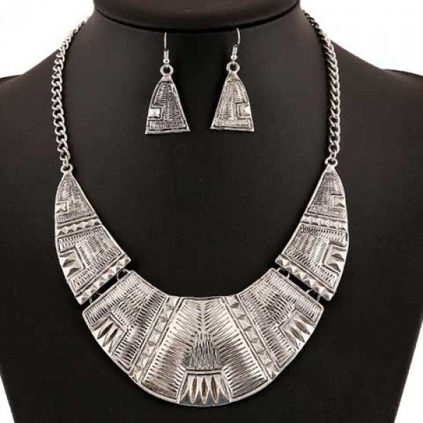 A Suit Retro Triangle Geometric Necklace And Earrings For Women - Silver