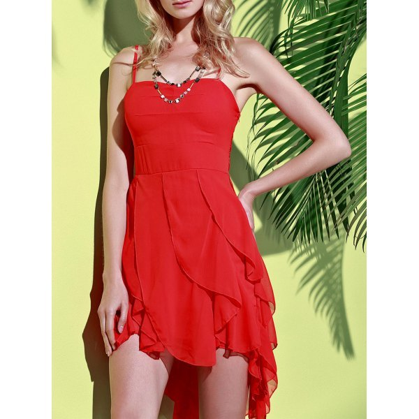 Asymmetrical Flounce Slip Gothic Dress - Red S