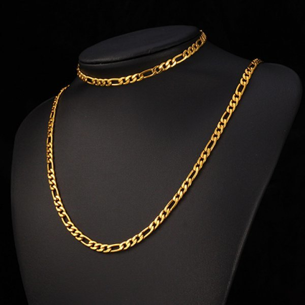 A Suit of Vintage Solid Color Chain Bracelet and Necklace For Men - Golden