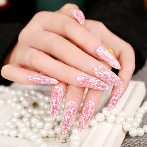 24 PCS Chic Golden Glitter Powder Various Small Cross Pattern Nail Art False Nails - Pink