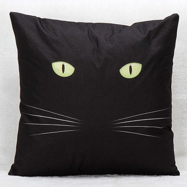 Black Cat Pattern Printed Square Shape Pillow Case(Without Pillow Inner)
