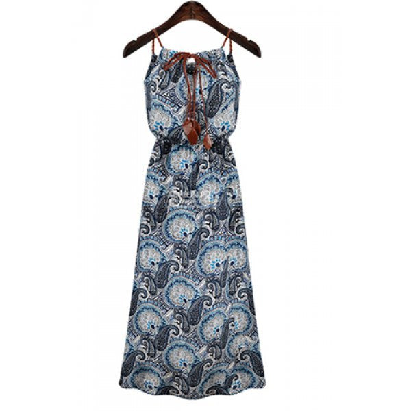 Bohemian Spaghetti Strap Self-Tie Print Dress For Women - Blue M
