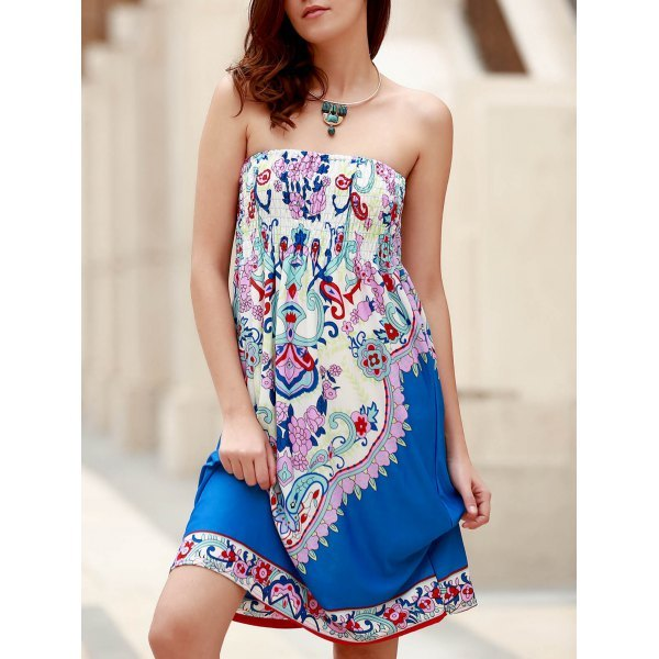 Bohemian Strapless Sleeveless Floral Print Women's Dress - Blue One Size(fit Size Xs To M)