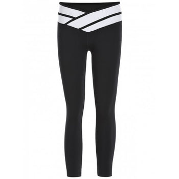 Sporty Color Block Slimming Capri Pants For Women - Black S