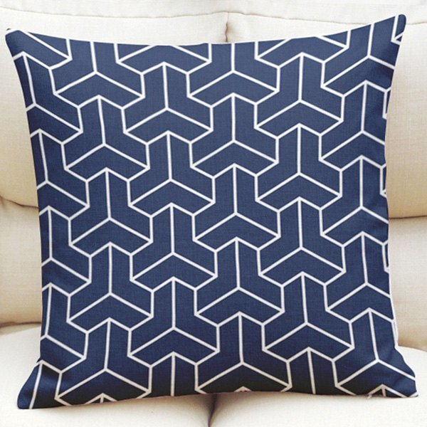 3D Geometric Pattern Square Shape Flax Pillowcase (Without Pillow Inner) - Cadetblue