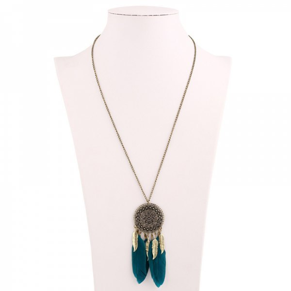 Bohemia Round Bead Feather Tassel Sweater Chain - Blackish Green