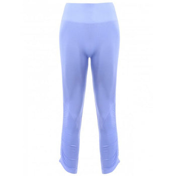 Sports Elastic Waist Solild Color Women's Cropped Leggings - Light Blue Xl