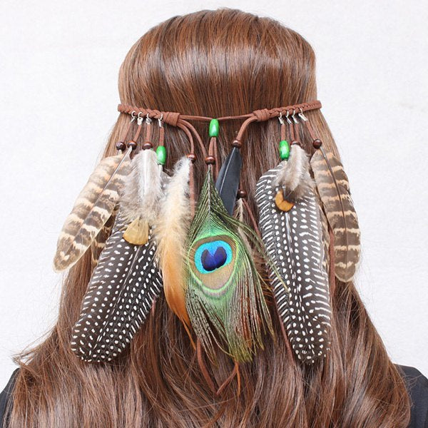 Bohemian Style Faux Leather Feather Hairband For Women - Brown