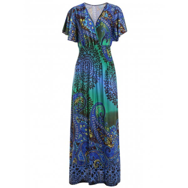 Bohemian Plunging Neck Maxi Dress For Women - Blue One Size